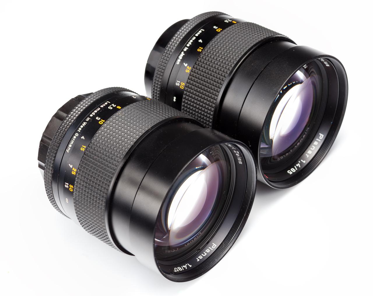 Japan Carl Zeiss Planar 85/1 4 C/Y Lens VS Germany Lens