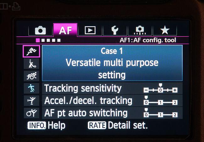 меню фокусировки Canon 5D mark III и Canon 1D X