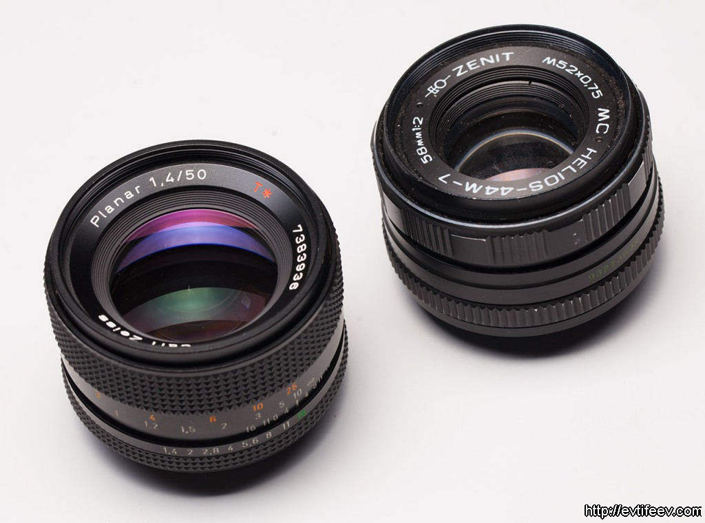 Carl Zeiss Planar 50/1.4 vs Гелиос 44М-7 МС