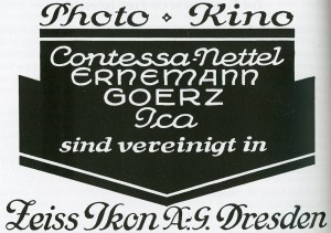 После слияния четырех компаний: «ICA», «Contessa-Nettel», «Ernemann», «Goerz» открыта компания «Zeiss Ikon» в г. Дрездене