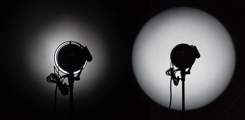 """Кроме рефлекторов существуют еще так называемые """"оптические насадки"""". Оптическая насадка отличается от обычного рефлектора (например, снута) наличием внутри собирающей лучи оптической системы линз (конденсора). Обычно, оптическую систему можно фокусировать. С точки зрения светового пятна оптическая насадка позволяет иметь световое пятно с чётко очерченными границами."""